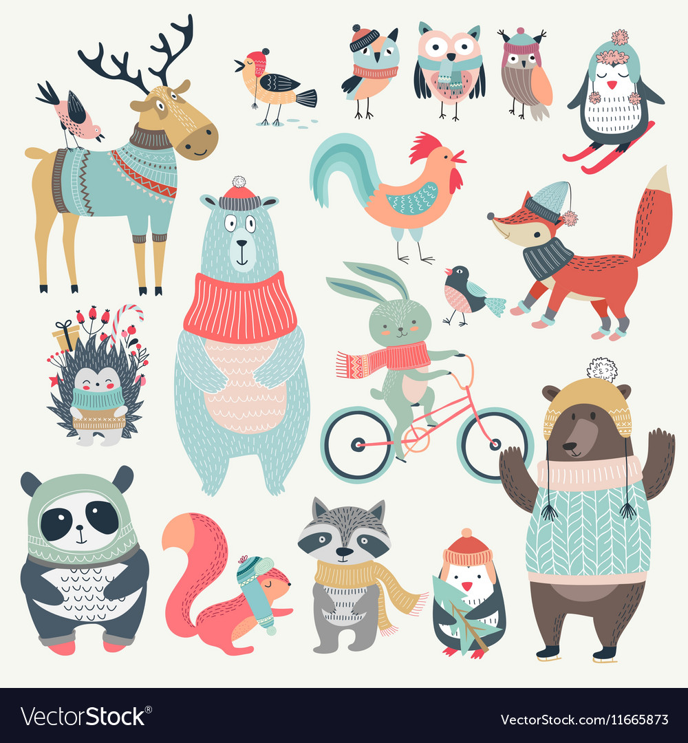 Christmas set with cute animals hand drawn style vector image