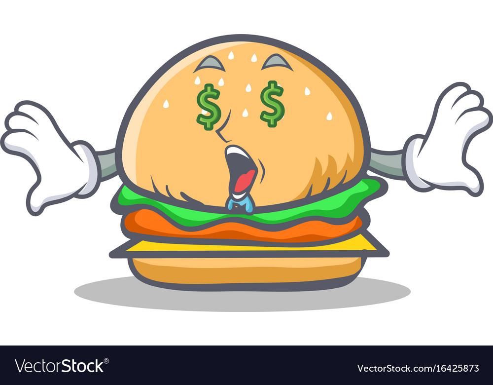 Money eye burger character fast food vector image