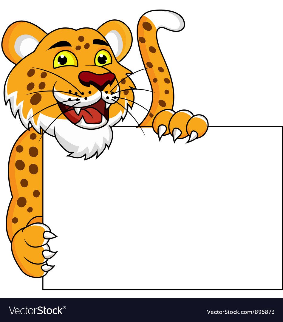 tiger cartoon with blank sign royalty free vector image