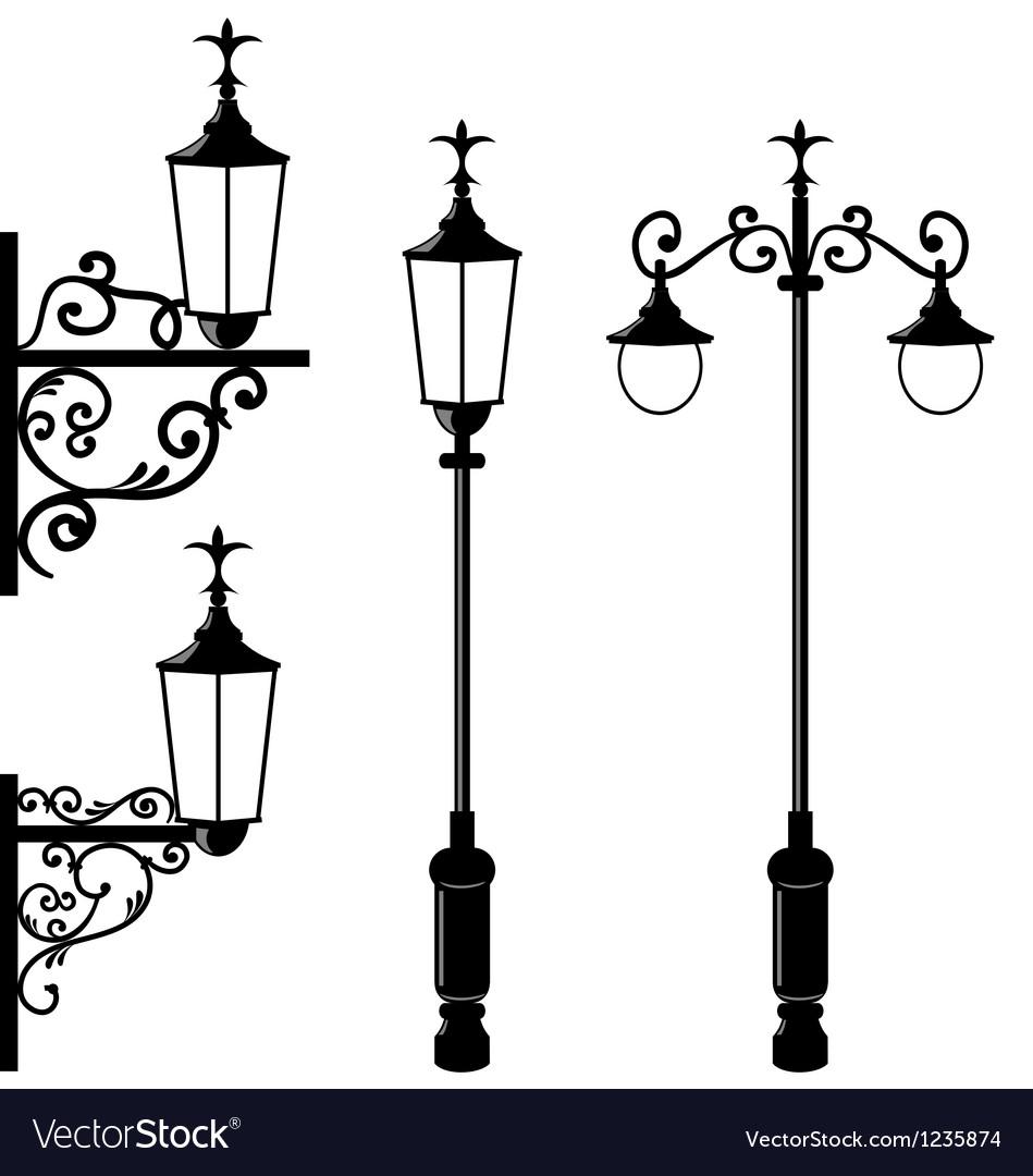 Set of vintage various streetlamp Vector Image
