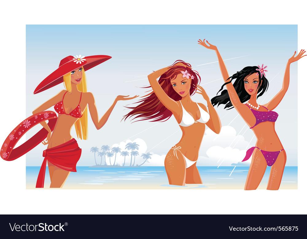 Beautiful sexy girls vector image