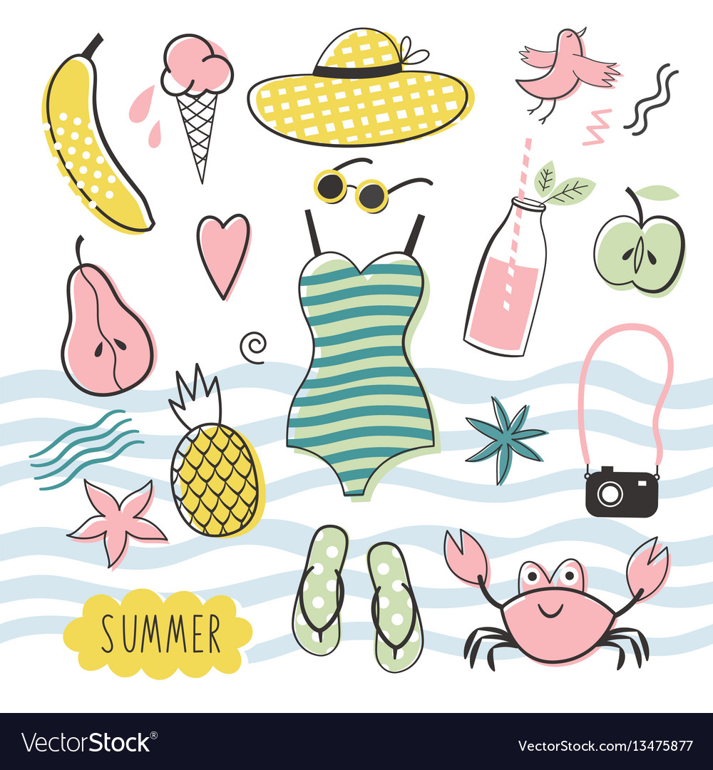 Big summer set vector image