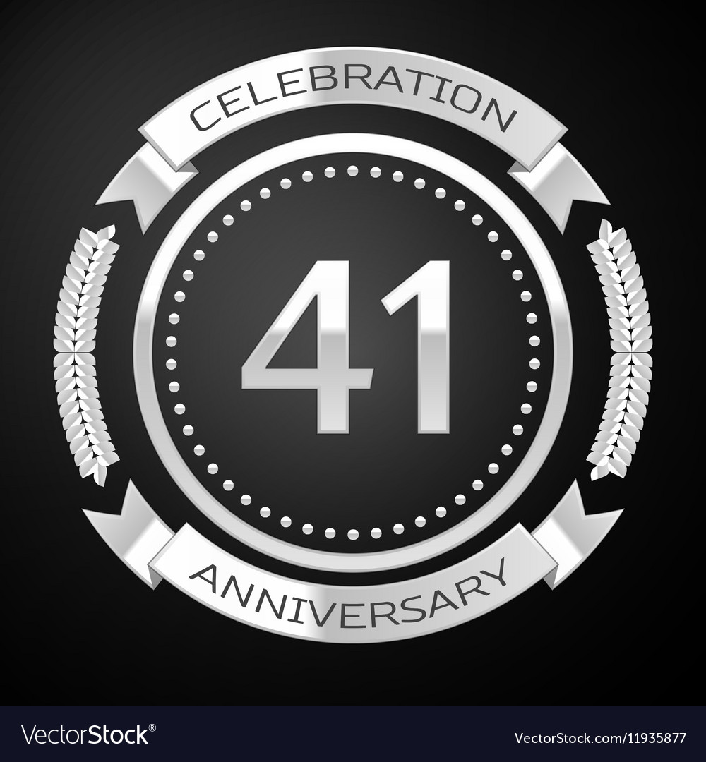 Forty one years anniversary celebration with vector image
