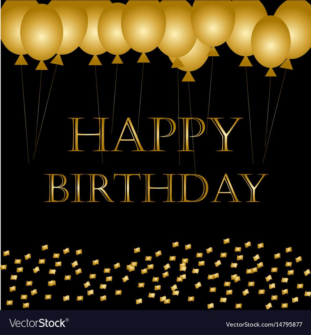Happy Birthday On Black Gold Balloon Sparkles Vector Image