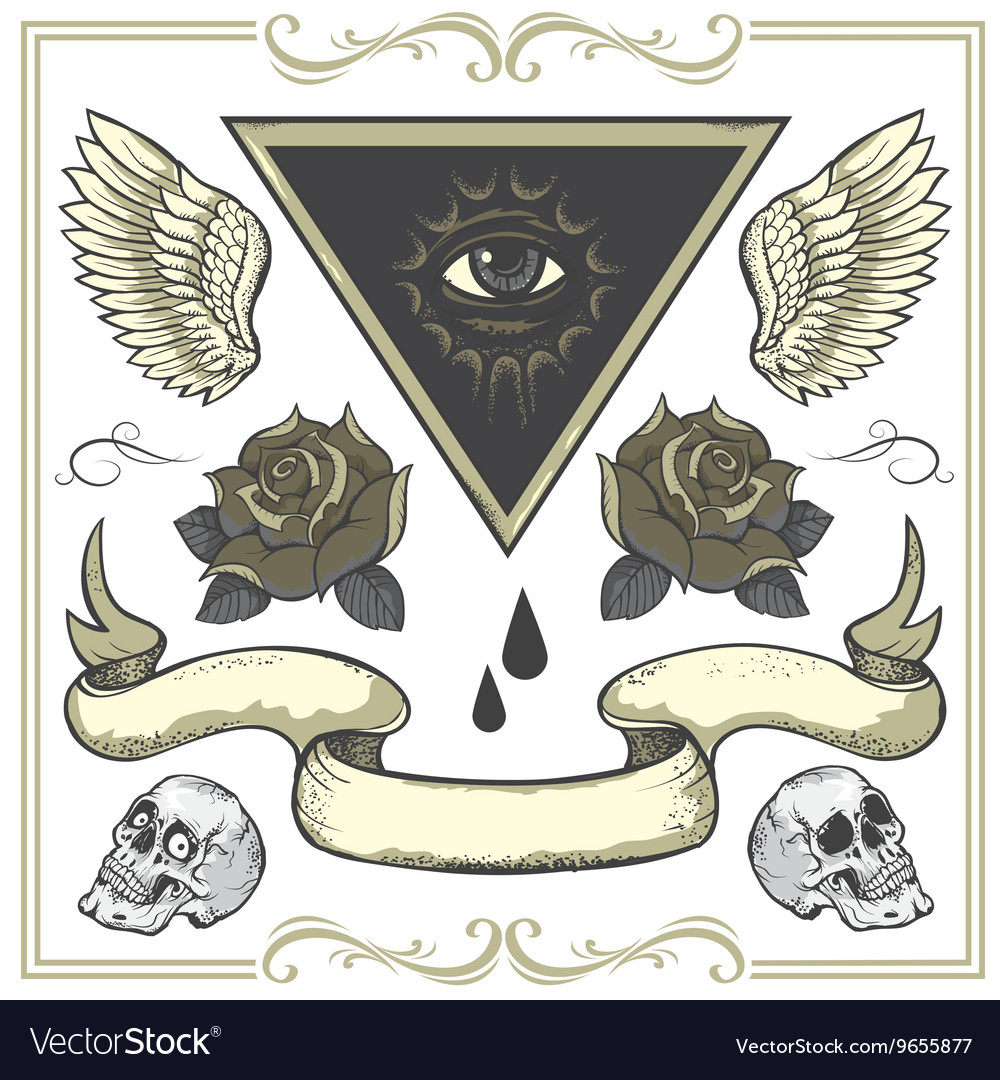 Set of Tattoo-art design elements vector image