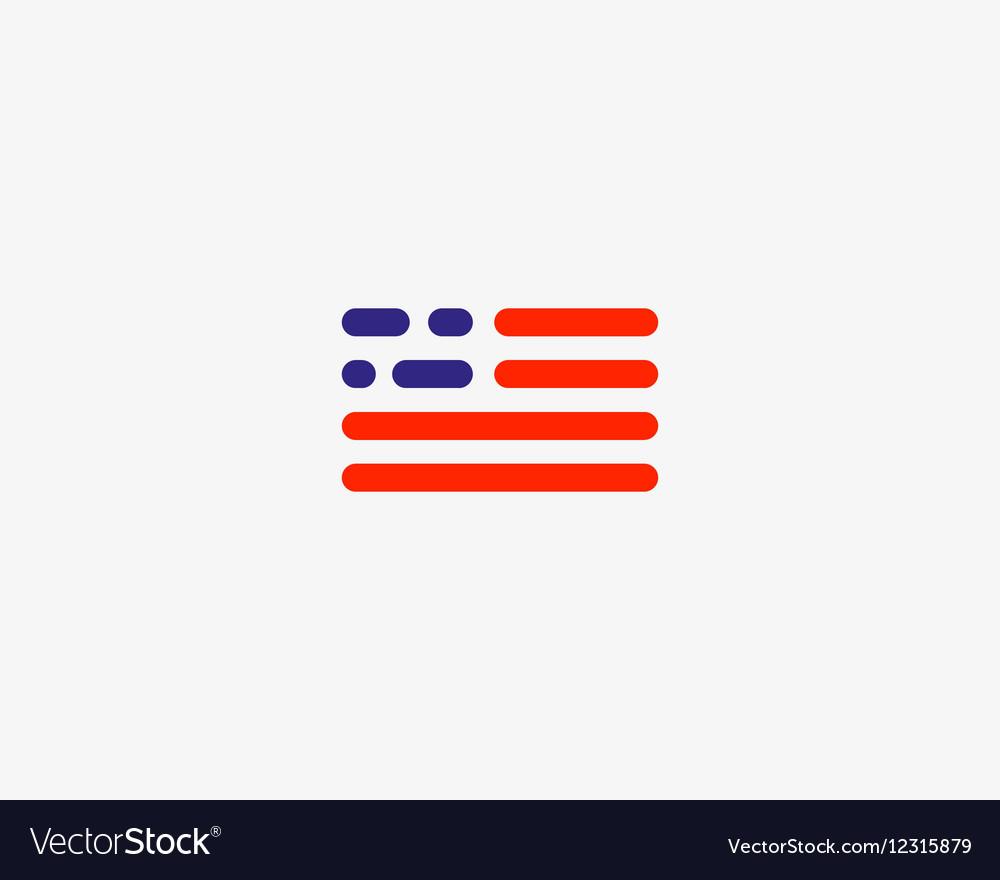 Code american flag logo design USA patriot tech vector image