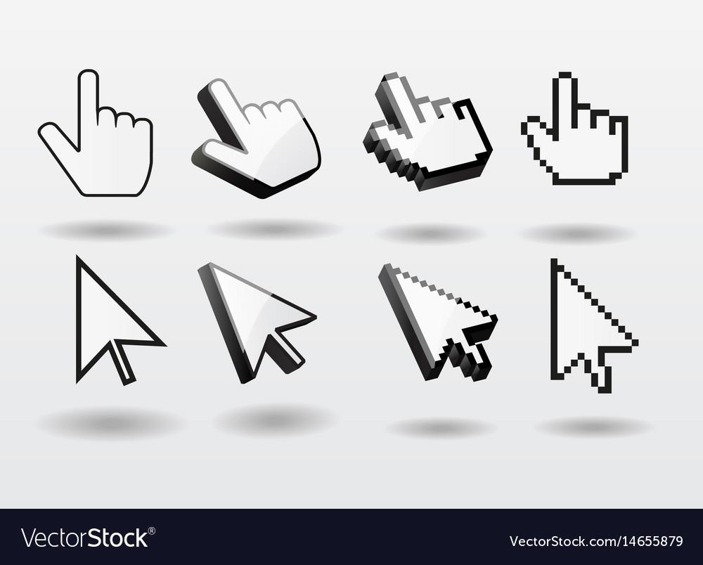 Mouse pointer set computer cursor icon finger vector image