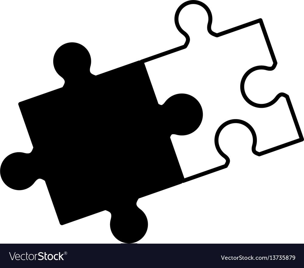 Puzzle solution collaboration monochrome vector image