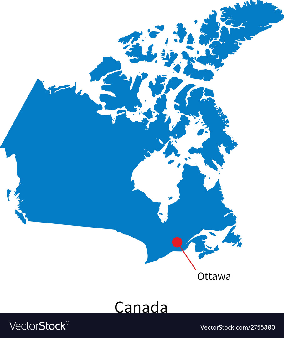 Detailed map of canada and capital city ottawa vector image gumiabroncs Choice Image