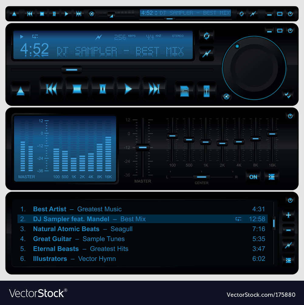 Multimedia player interface vector image