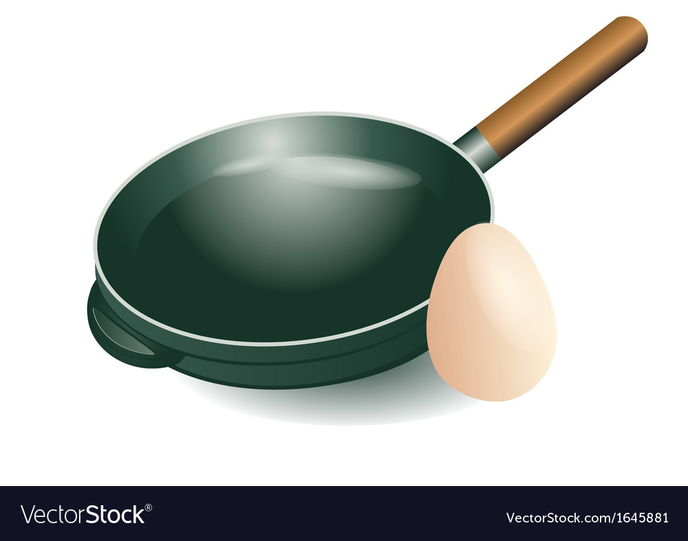 Frying pan and egg vector image