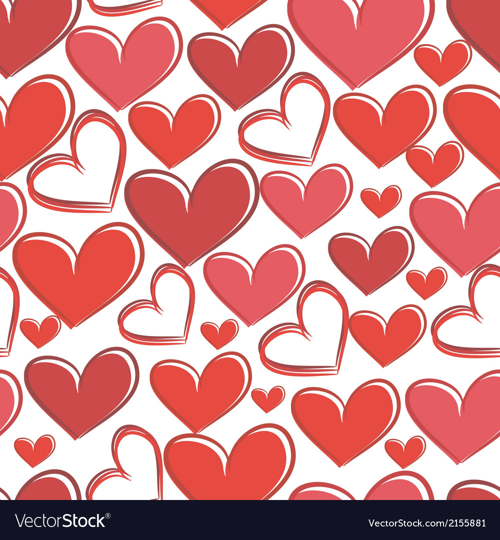 Seamless pattern with hearts on a white background vector image