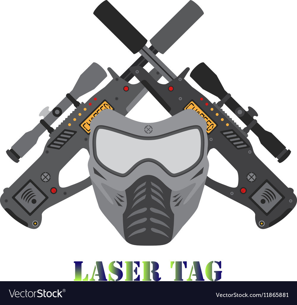 Set of laser tag game helmet guns in flat style vector image