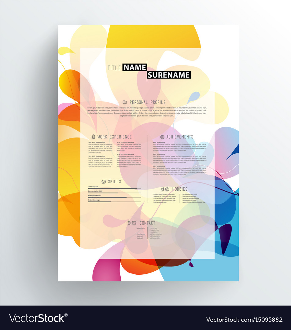 Creative abstract colorful cv resume template vector image