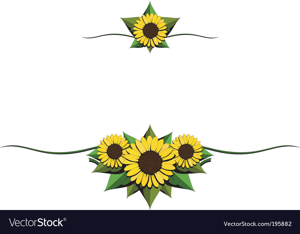Sunflower cartoon ornaments vector image