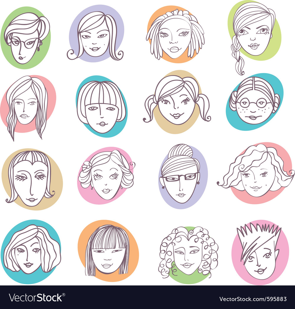 Female portraits Vector Image