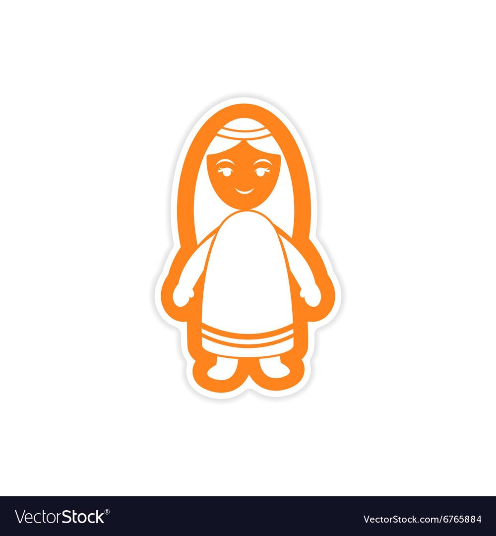 Paper sticker on white background virgin Mary