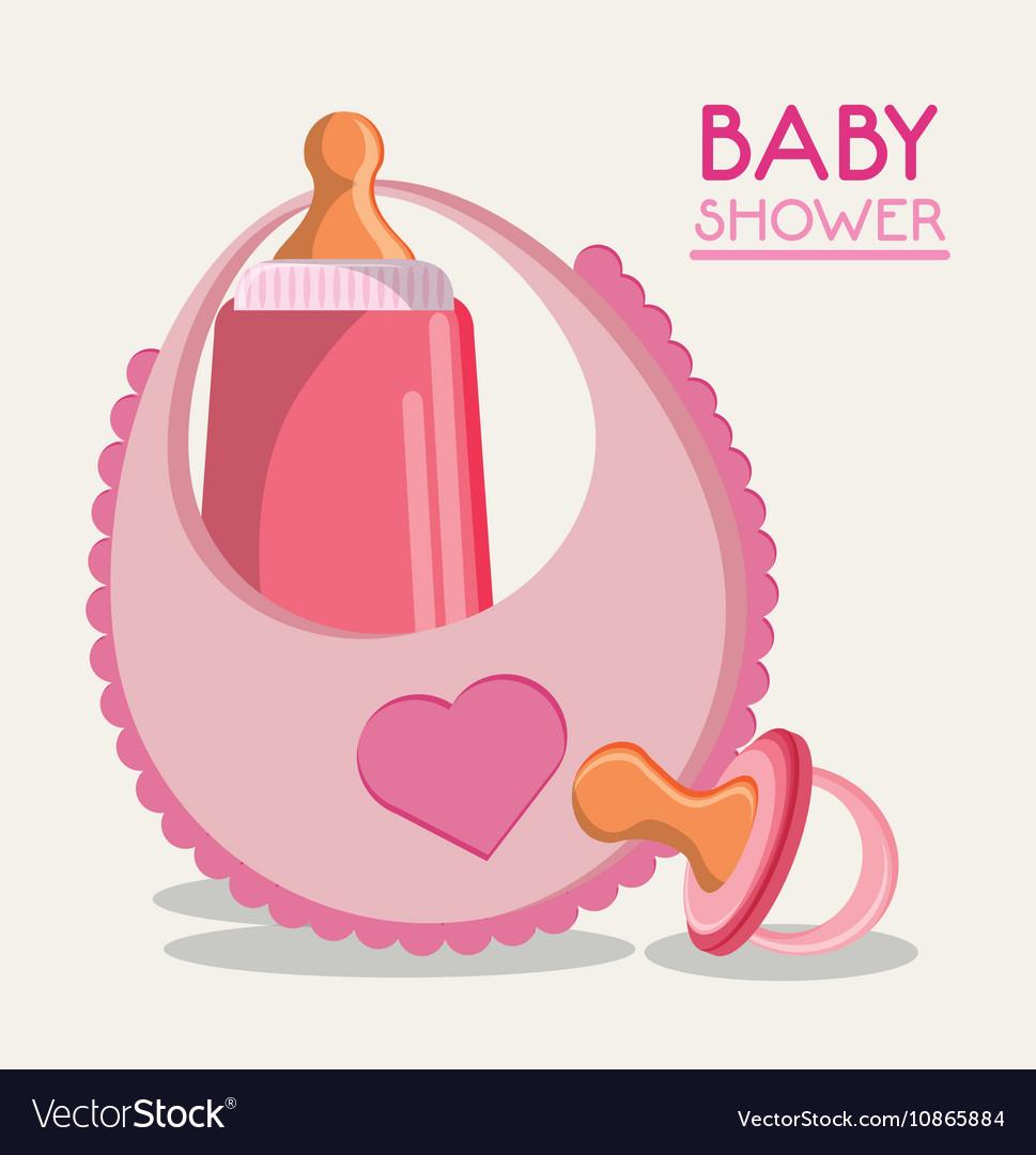 Baby bottle bib and pacifier design vector image