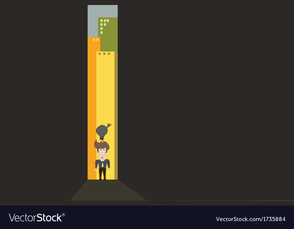 Person walking through a narrow passage vector image