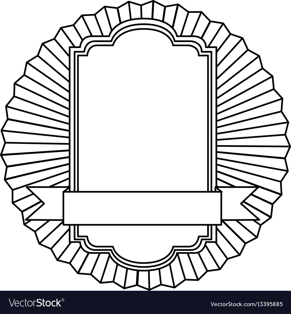 Figure emblem squard border with ribbon icon vector image