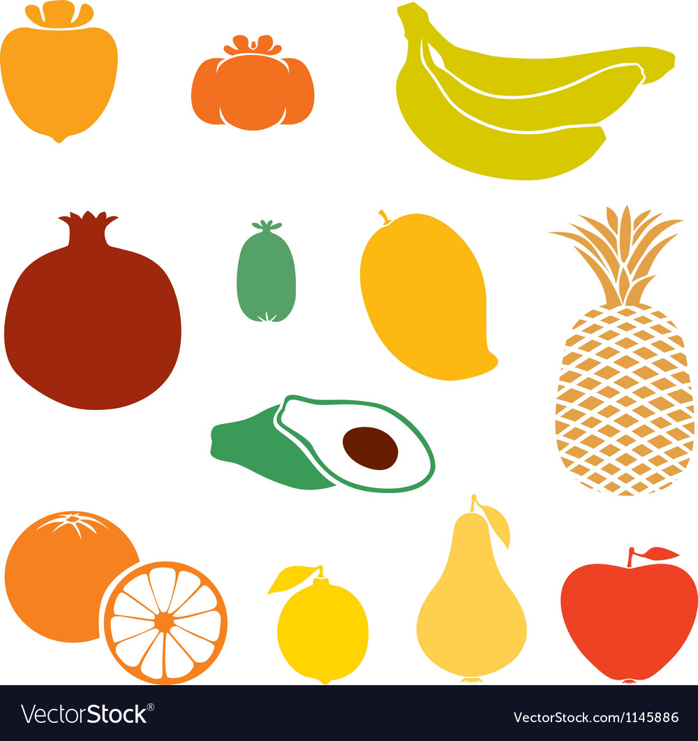 Silhouette fruits vector image