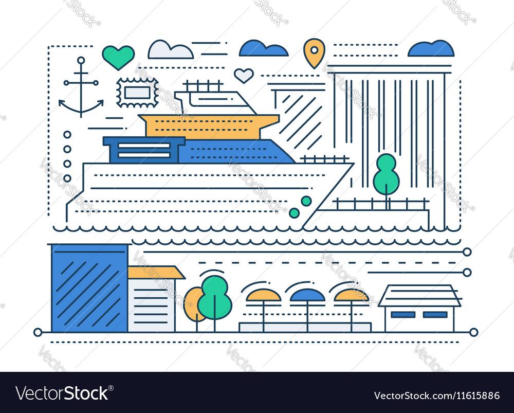 Voyage trip - line flat design vector image
