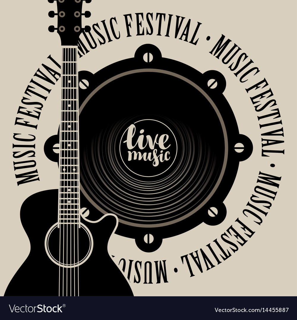 Banner for music festival with speaker and guitar vector image