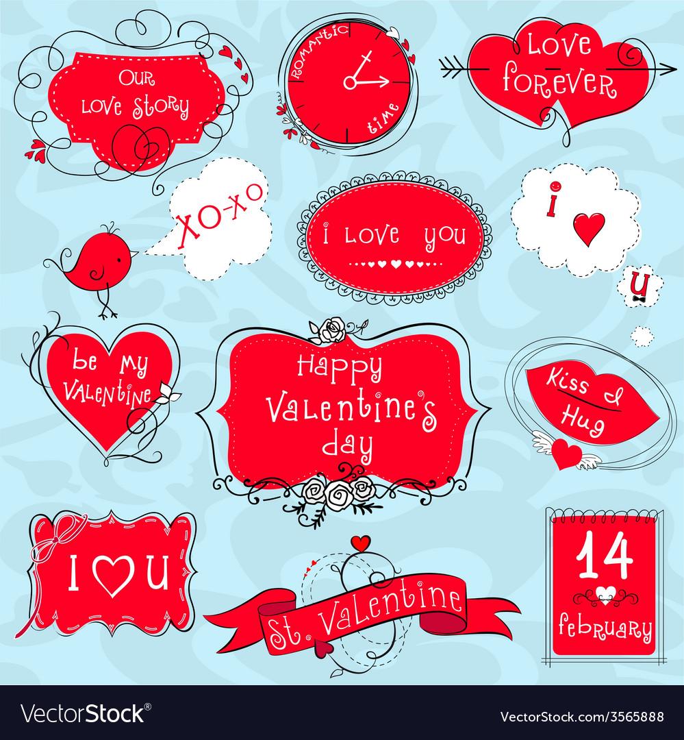 doodle valentine frames vector image - Valentines Picture Frames