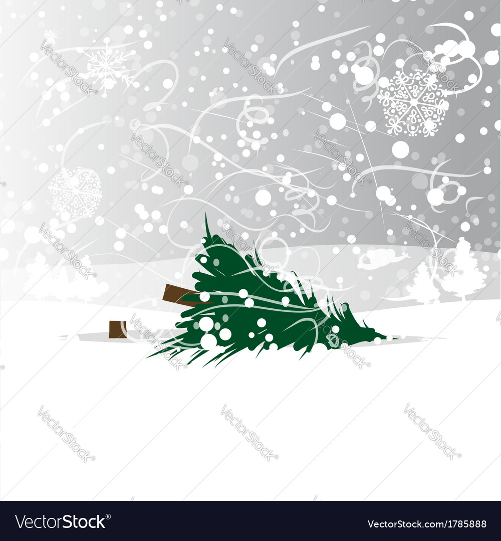 Felled tree in forest vector image