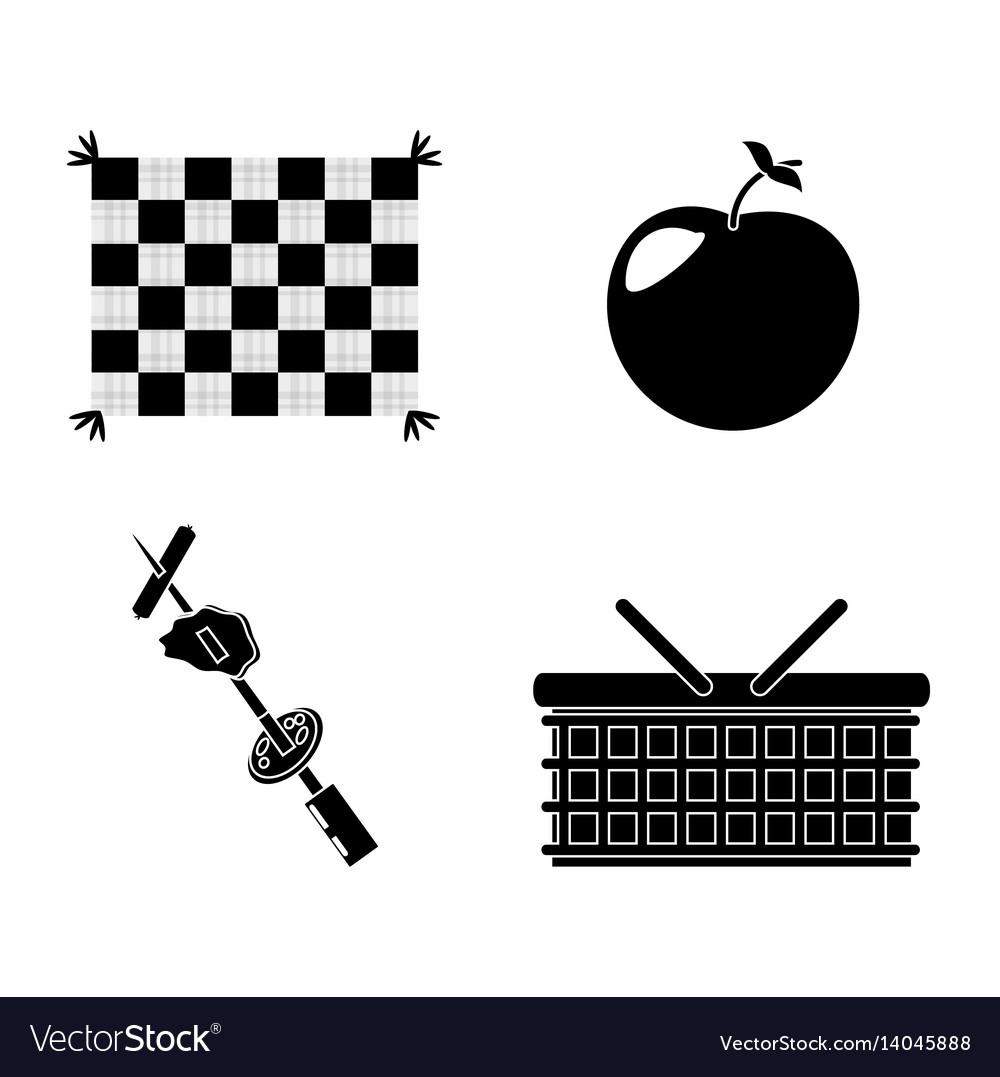Picnic basket grilled food apple blanket vector image