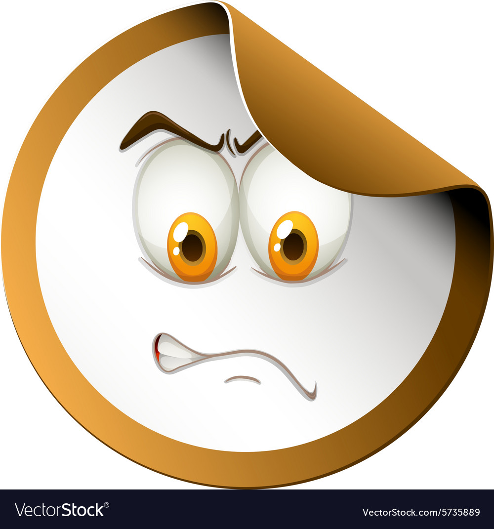 Angry face on sticker vector image