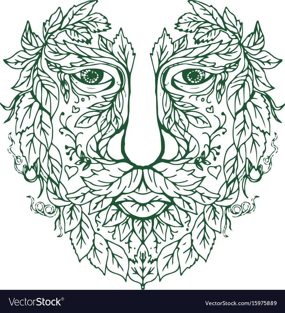 Green man head front mandala vector image