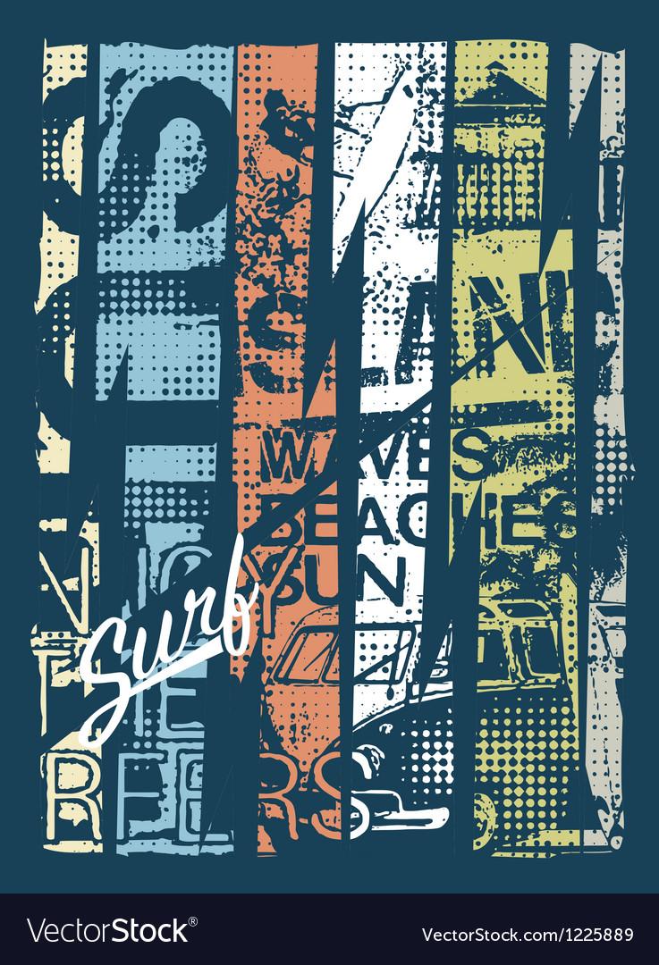 Surfing grunge patchwork vector image