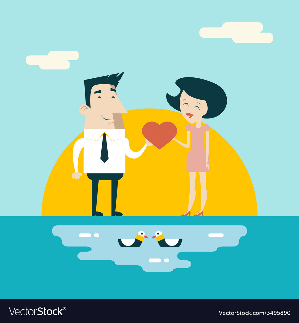 Love Male and Female Cartoon Characters Valentines vector image