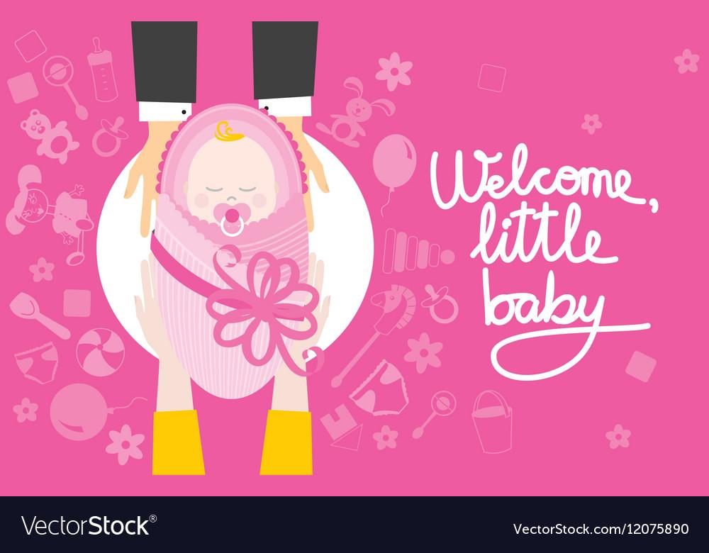 Welcome little baby girl vector image