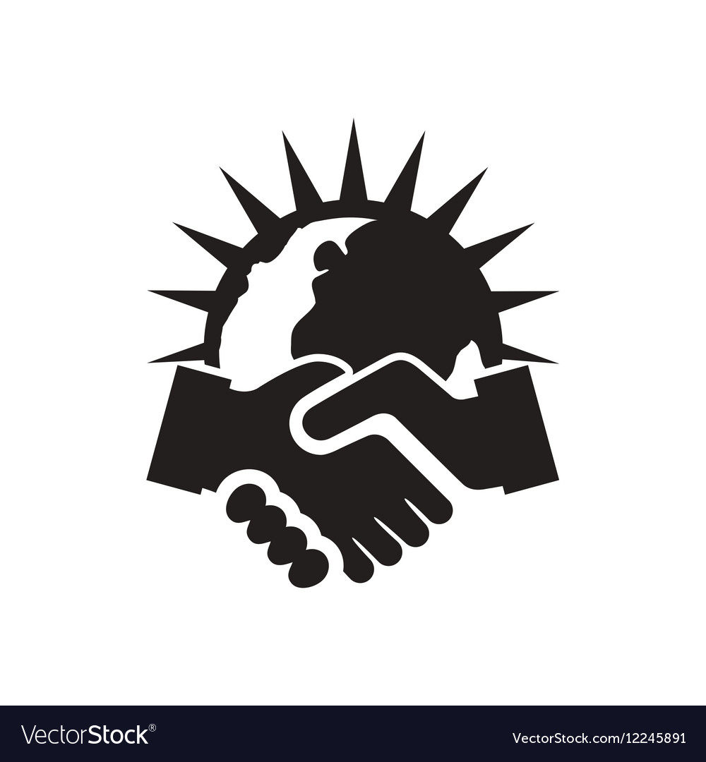 Flat icon in black and white handshake