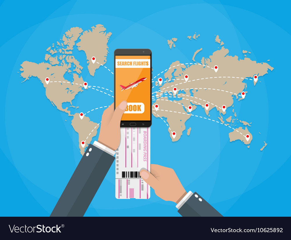Online booking for airplane tickets world map vector image online booking for airplane tickets world map vector image gumiabroncs Image collections