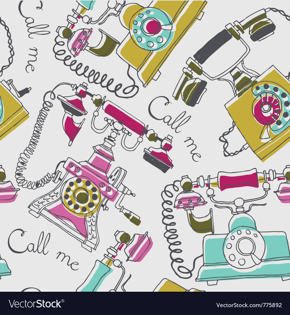 Telephone drawing background vector image
