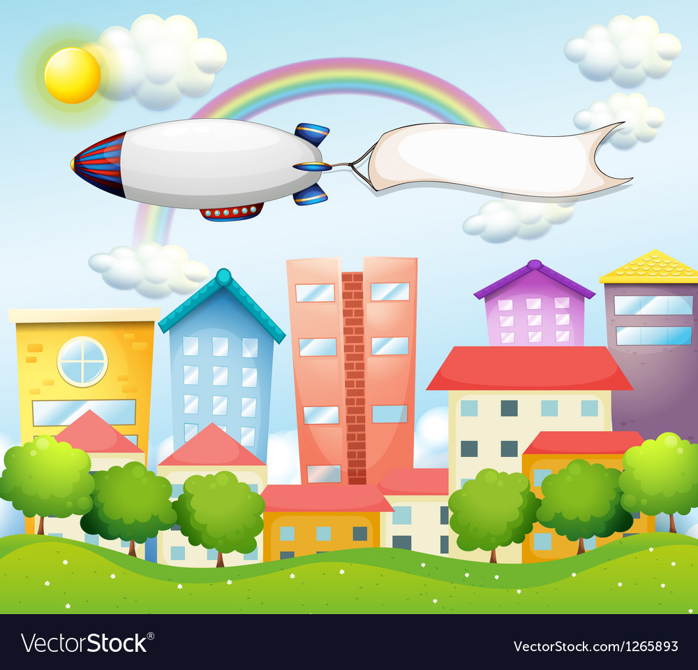 An aircraft and the empty banner vector image