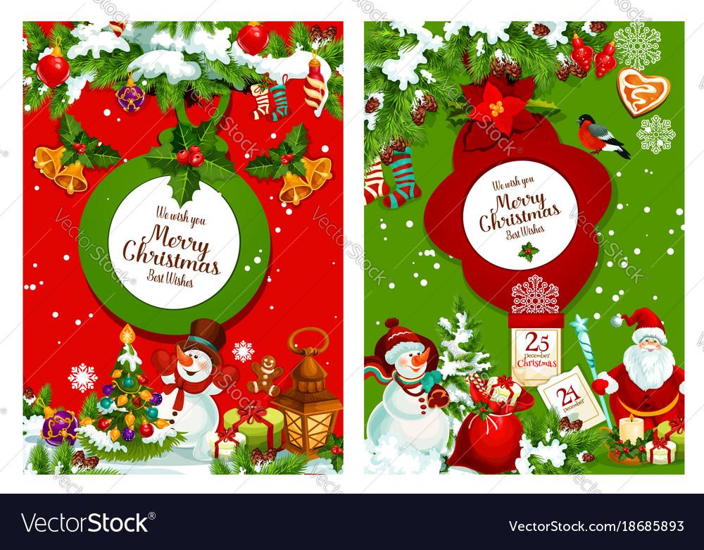 christmas poster of xmas tree santa and snowman vector image - Santa And Snowman
