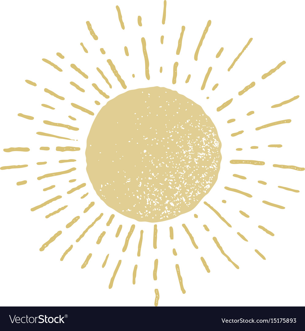 Hand drawn sun isolated on white background vector image
