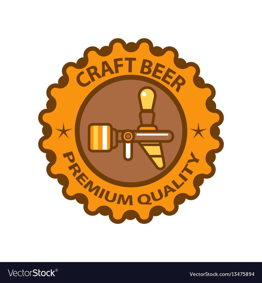 Craft beer premium quality logotype design vector image