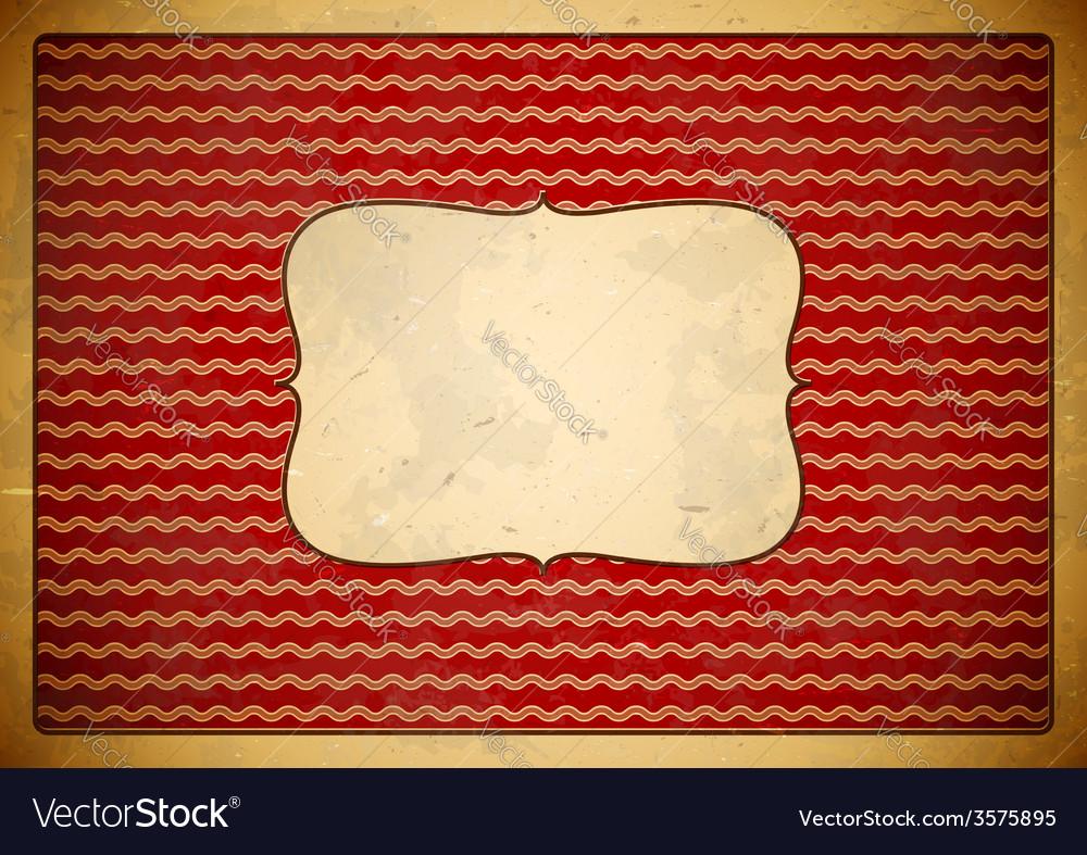 Red vintage frame with wave pattern vector image