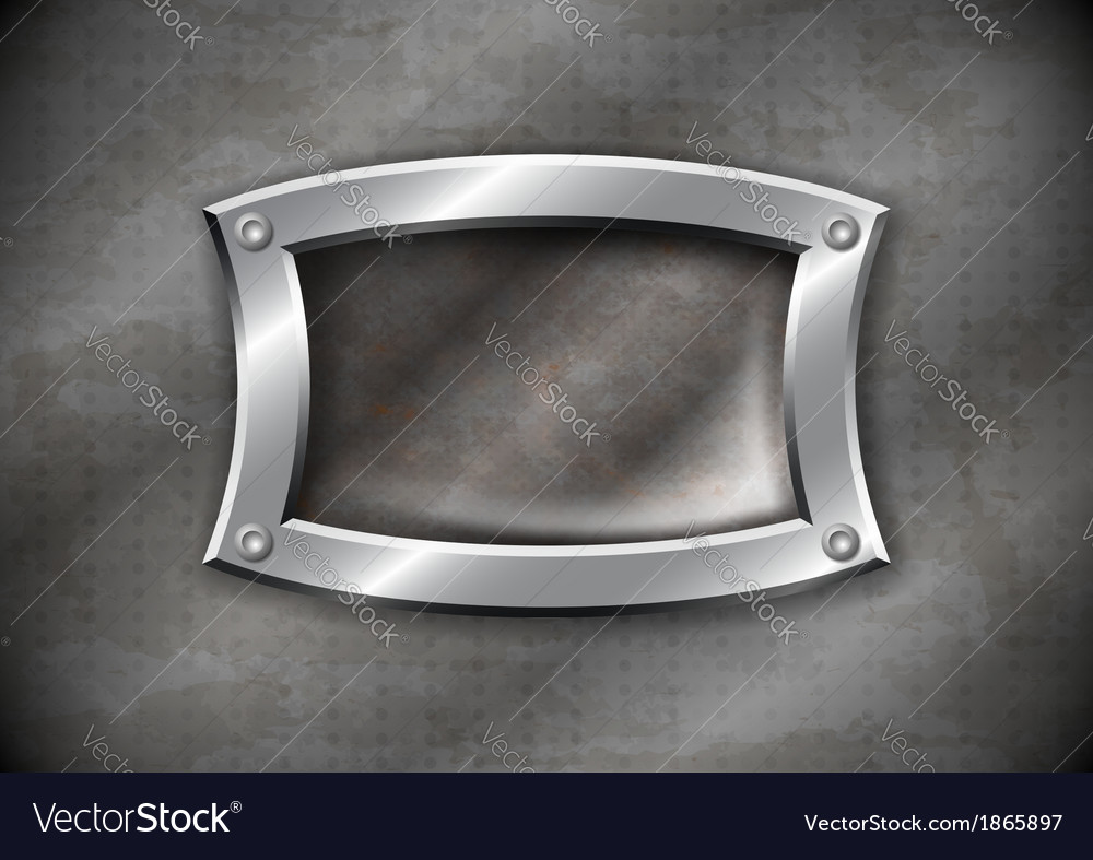 Old rusty metal frame on aged background vector image