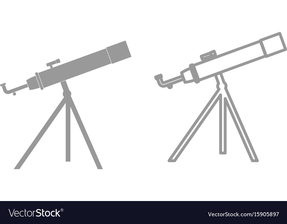 Telescope the grey set icon vector image
