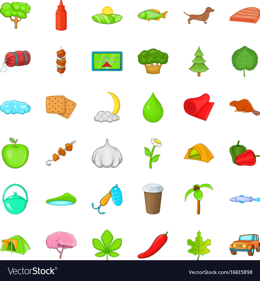 Tree icons set cartoon style vector image