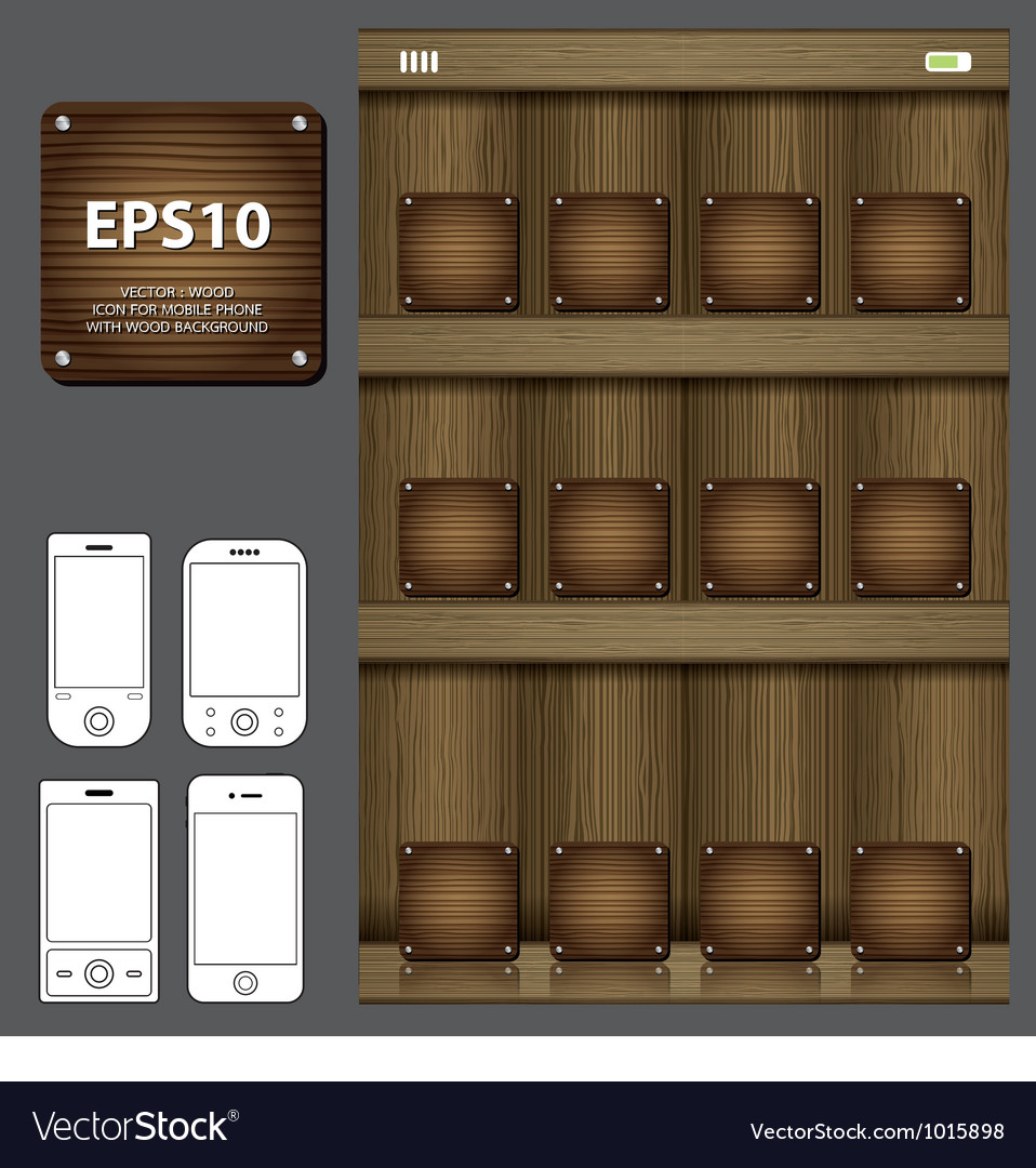 Wood icon for mobile vector image