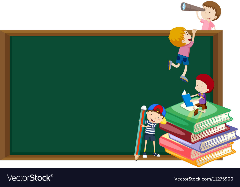 Background template with kids and blackboard vector image