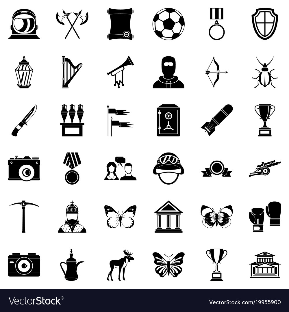 Museology icons set simple style vector image