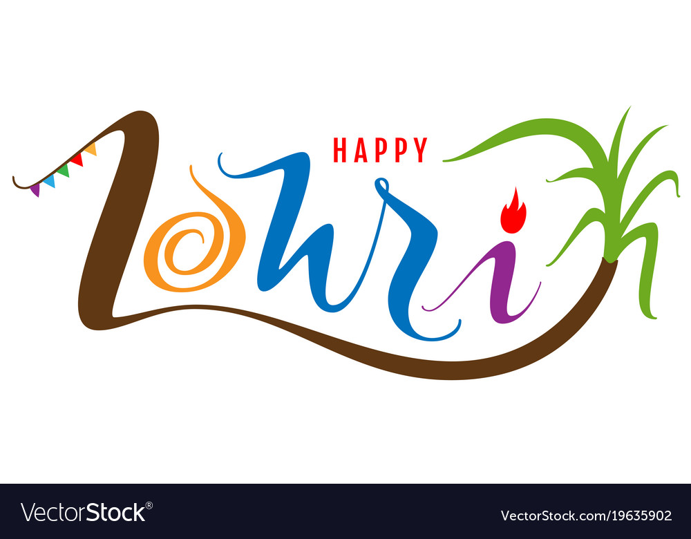 Happy lohri text for greeting card indian holiday vector image